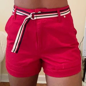 Belted red guess jean shorts